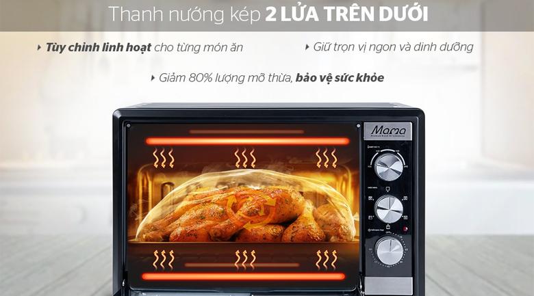 Thanh nướng kết hợp quạt đối lưu - Lò nướng Sunhouse Mama SHD4240 40 lít