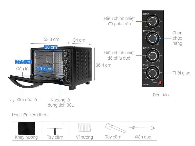 Thông số kỹ thuật Lò nướng Panasonic NB-H3801KRA 38 lít