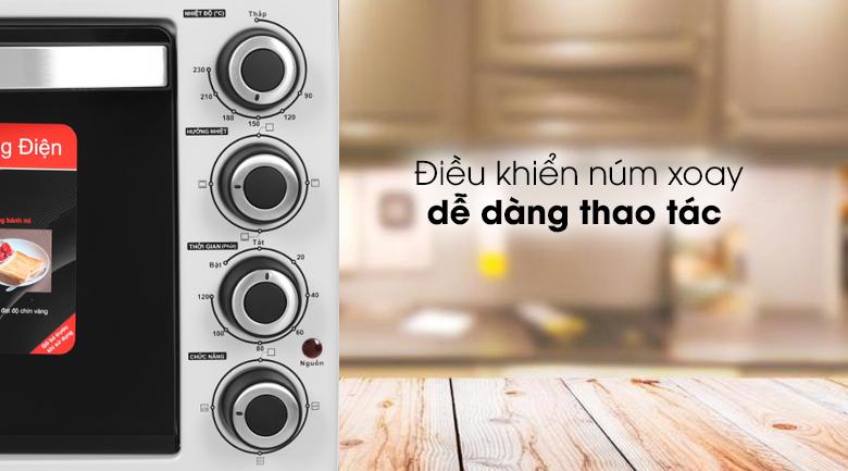 Lò nướng Galanz KWS2042LQ-H8UK 42 lít - Bảng điều khiển trực quan có 4 núm xoay chỉ dẫn tiếng Việt rõ ràng, dễ dùng