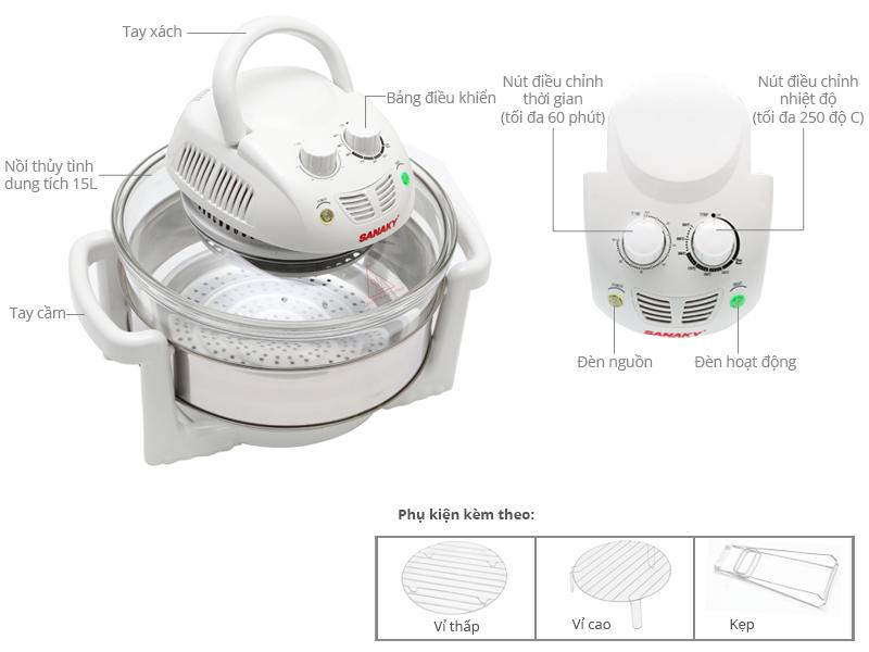 Thông số kỹ thuật Lò nướng thuỷ tinh Sanaky 158T 15 lít