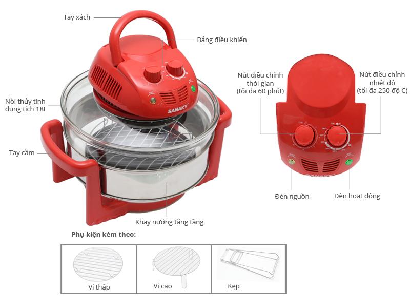 Thông số kỹ thuật Lò nướng thuỷ tinh Sanaky 188 15 lít