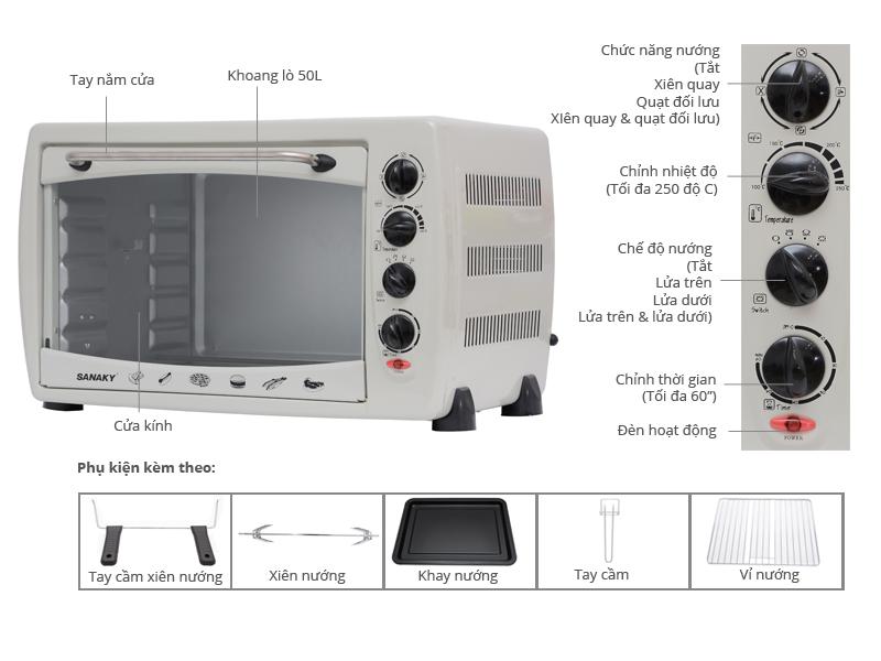 Thông số kỹ thuật Lò nướng Lò nướng thùng Sanaky VH50B, 50 lít, nướng, quay giảm mỡ