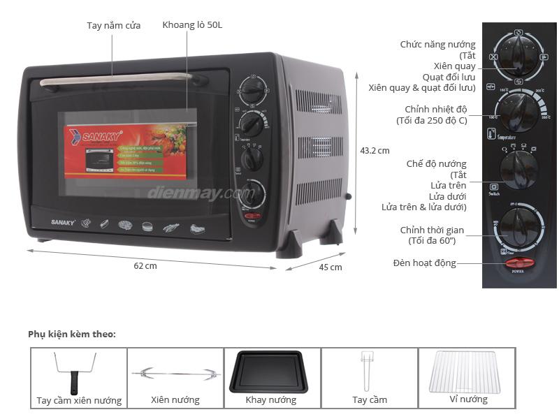 Thông số kỹ thuật Lò nướng Sanaky VH509S