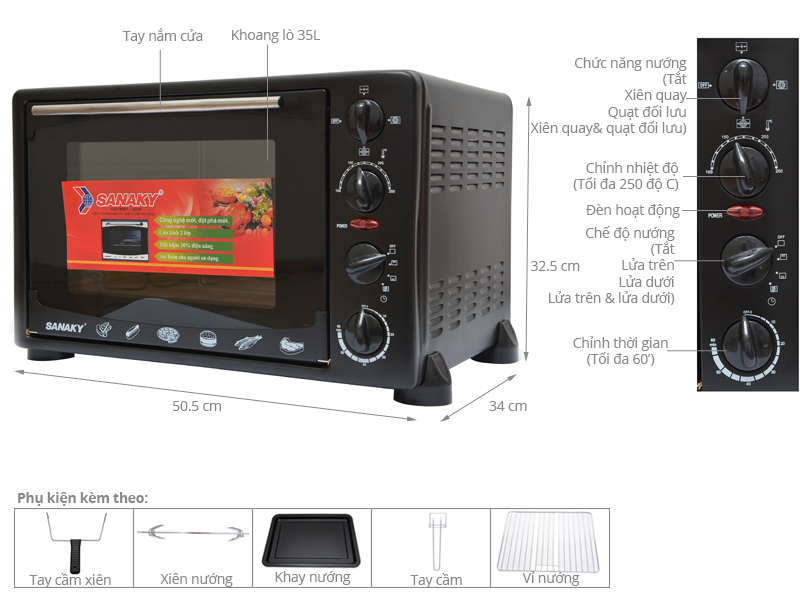 Thông số kỹ thuật Lò nướng Sanaky VH359S 35 lít