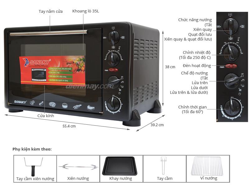 Thông số kỹ thuật Lò nướng Sanaky VH359S