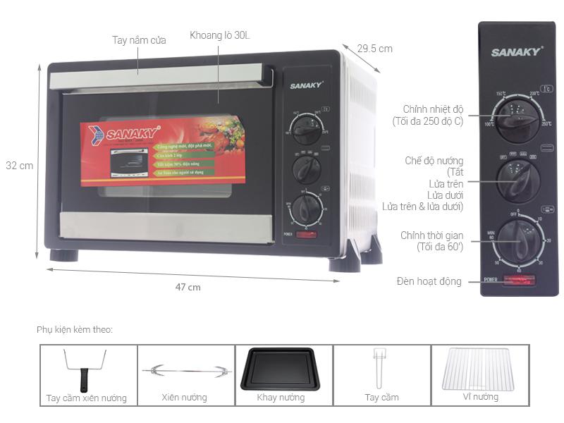 Thông số kỹ thuật Lò nướng Sanaky VH309N 30 lít