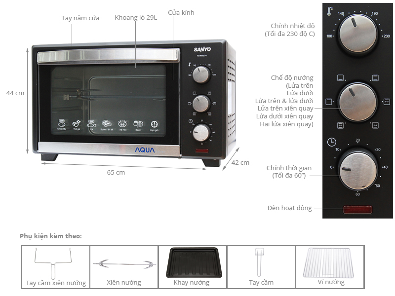 Thông số kỹ thuật Lò nướng Sanyo Aqua TO-R5074