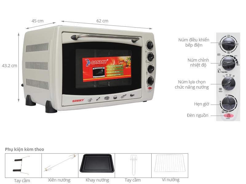 Thông số kỹ thuật Lò nướng Sanaky VH509B 50 lít