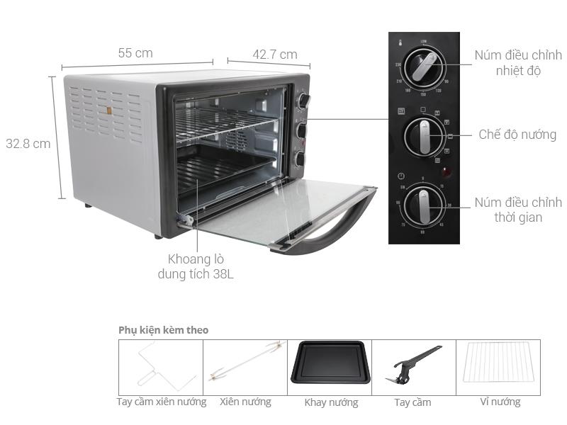 Thông số kỹ thuật Lò nướng Electrolux EOT38MBB 38 lít