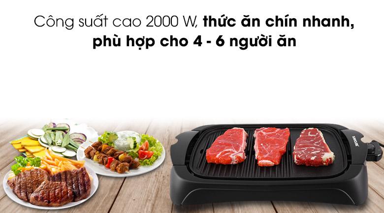 Công suất 2000 W, nướng thức ăn cho 4 - 6 người ăn - Bếp nướng điện Sunhouse SHD4602