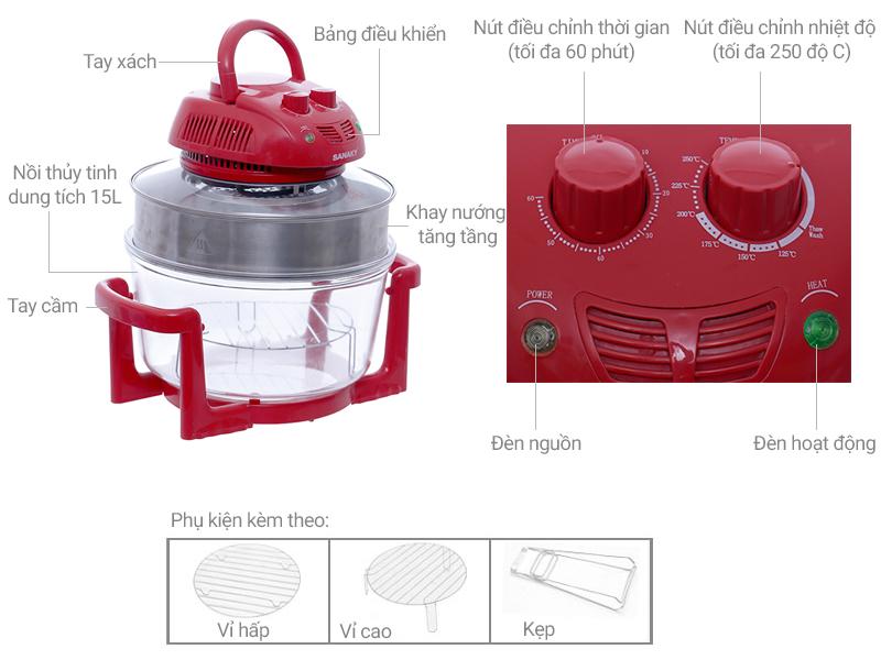 Thông số kỹ thuật Lò nướng thủy tinh Sanaky VH 158D Màu Đỏ 15 lít