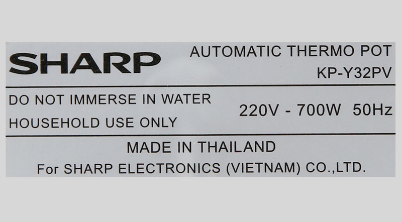 Công suất 700 W - Bình thủy điện Sharp KP-Y32PV-CU 3 lít