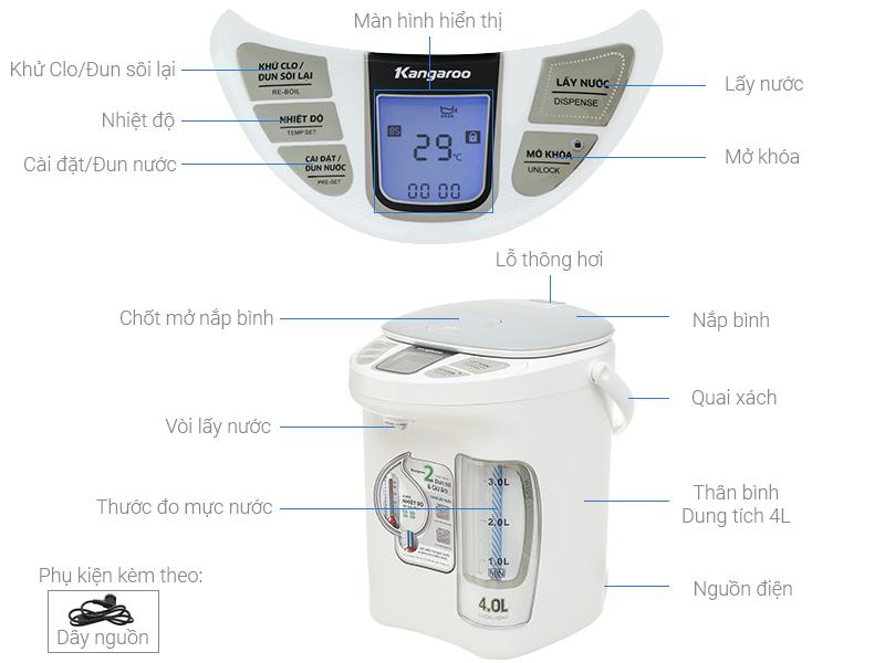 Bình thủy điện Kangaroo KG4K1 4 lít