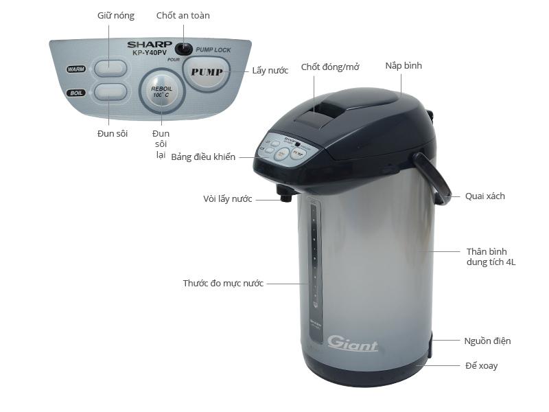 Thông số kỹ thuật Bình thuỷ điện Sharp KP-Y40PV 4 lít