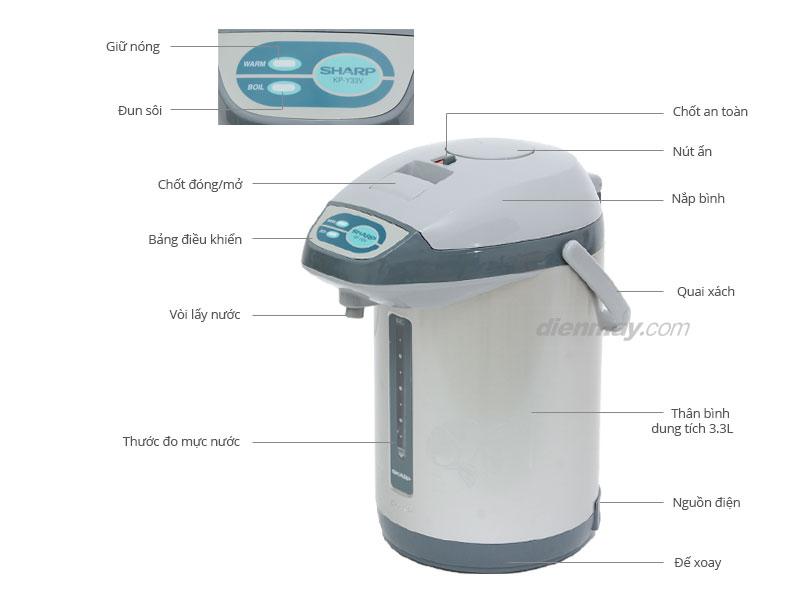 Thông số kỹ thuật Bình thuỷ điện Sharp KP-Y33V 3.3 lít