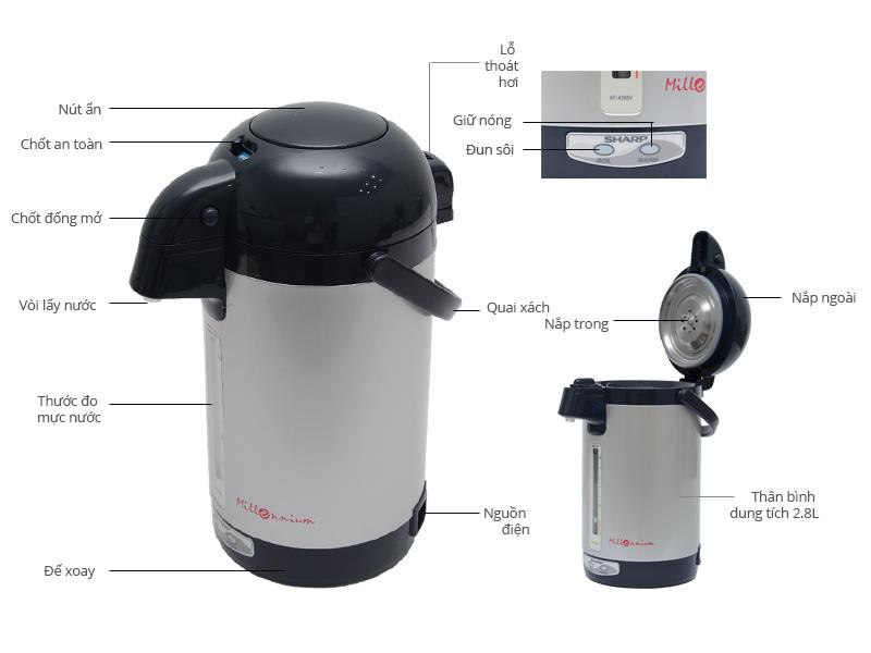 Thông số kỹ thuật Bình thủy điện Sharp KP-A28SV 2.8 lít