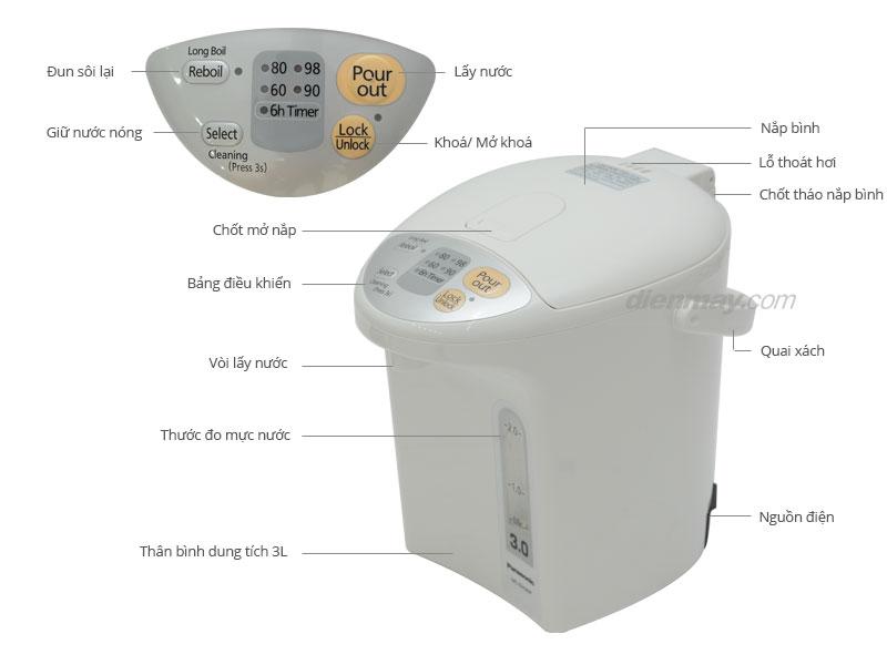 Thông số kỹ thuật Bình thuỷ điện Panasonic NC-EH30PWSY 3 lít