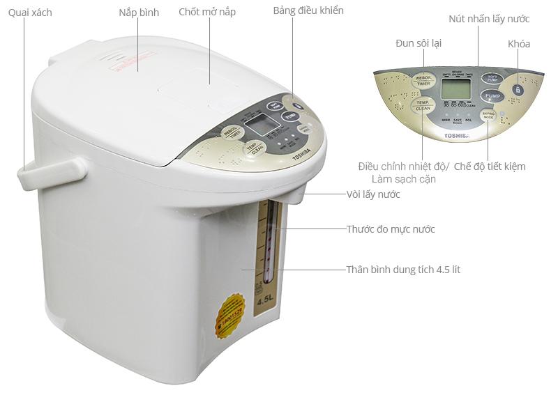 Thông số kỹ thuật Bình thủy điện Toshiba PLK-45SF(WT)VN 4.5 lít