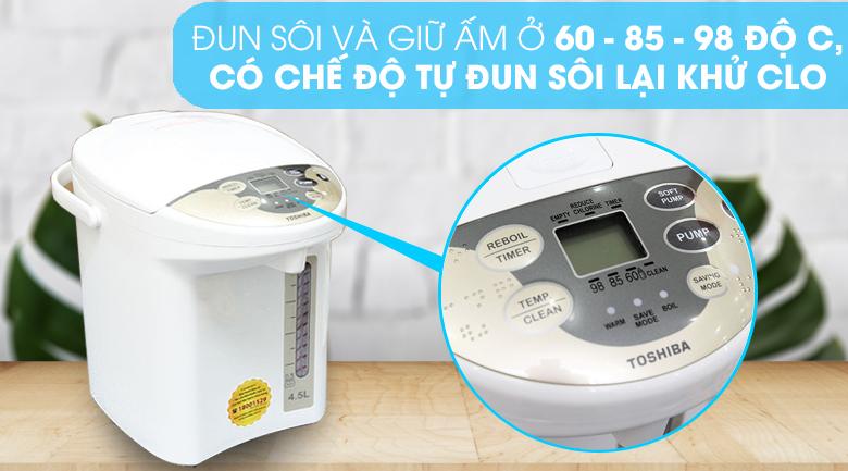 Bình thủy điện Toshiba PLK-45SF(WT)VN 4.5 lít - Nhiệt độ đun