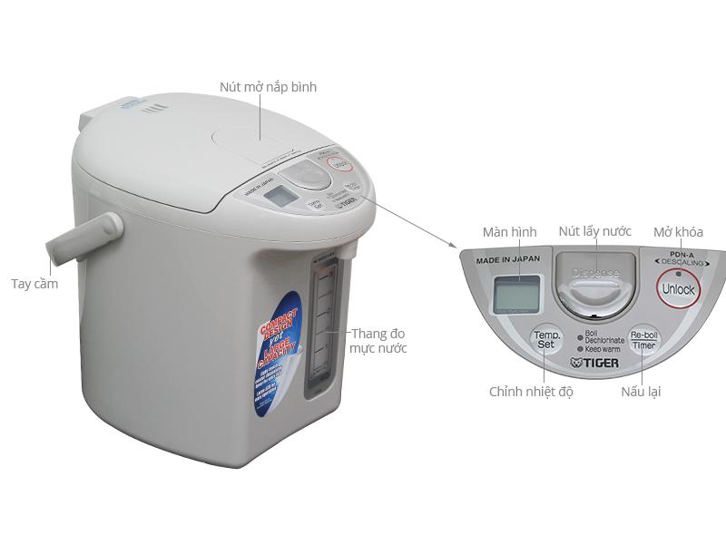 Thông số kỹ thuật Bình Thủy điện Tiger PDN-A40W 4.0 lít