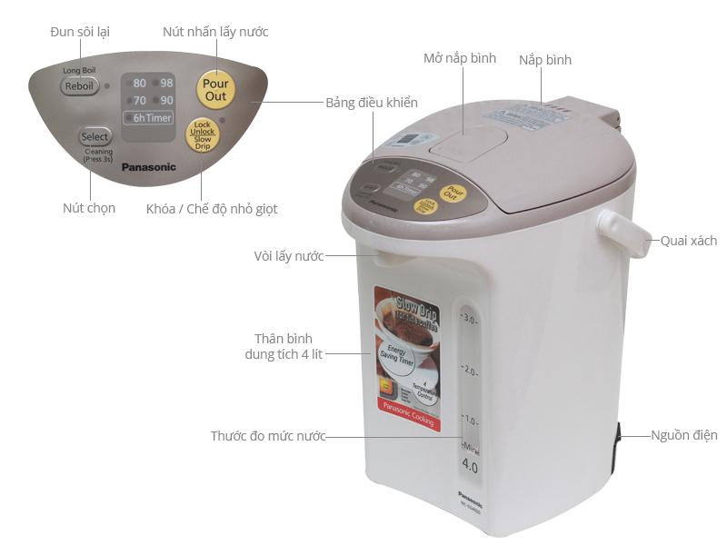 Thông số kỹ thuật Bình thủy điện Panasonic NC-EG4000CSY 4 lít