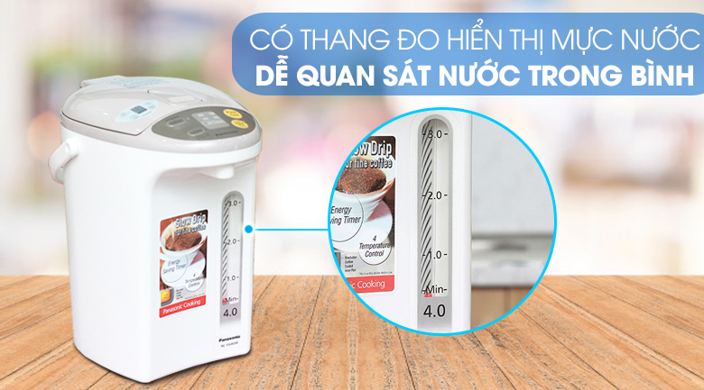 Bình thủy điện Panasonic NC-EG4000CSY 4 lít - Thang đo nước