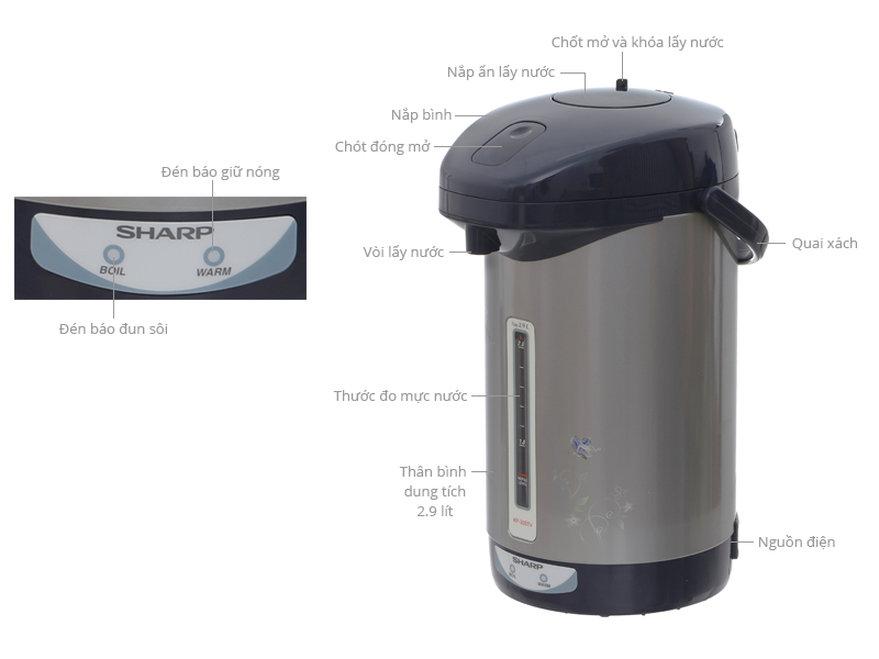 Thông số kỹ thuật Bình thủy điện Sharp KP-30STV 2.9 lít
