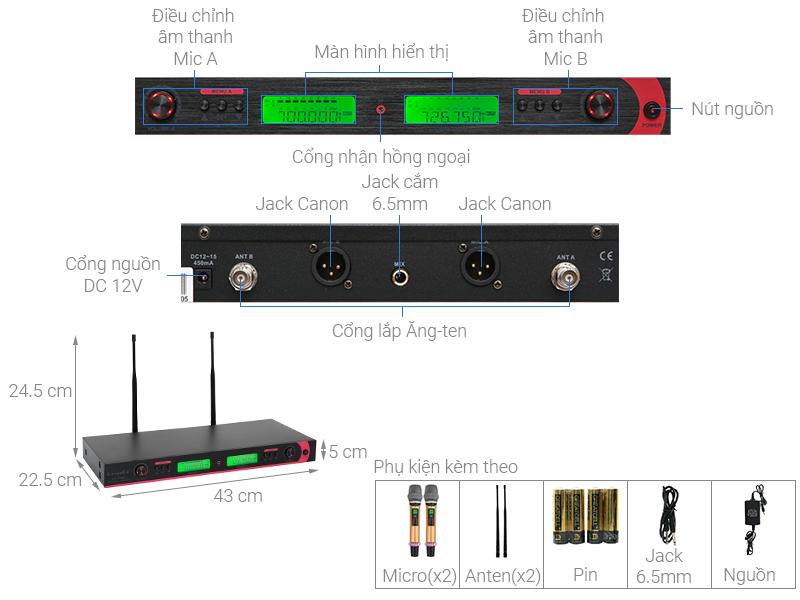 Thông số kỹ thuật Cặp micro không dây Ce-anCe KP-7600