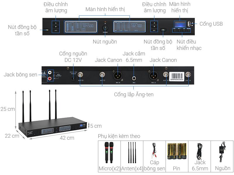 Thông số kỹ thuật Cặp micro không dây Ce-anCe KP-8900