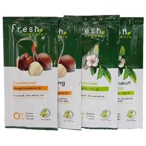 Sampling dầu gội và dầu xả Fresh Organic từ hạt Macca và tràm trà