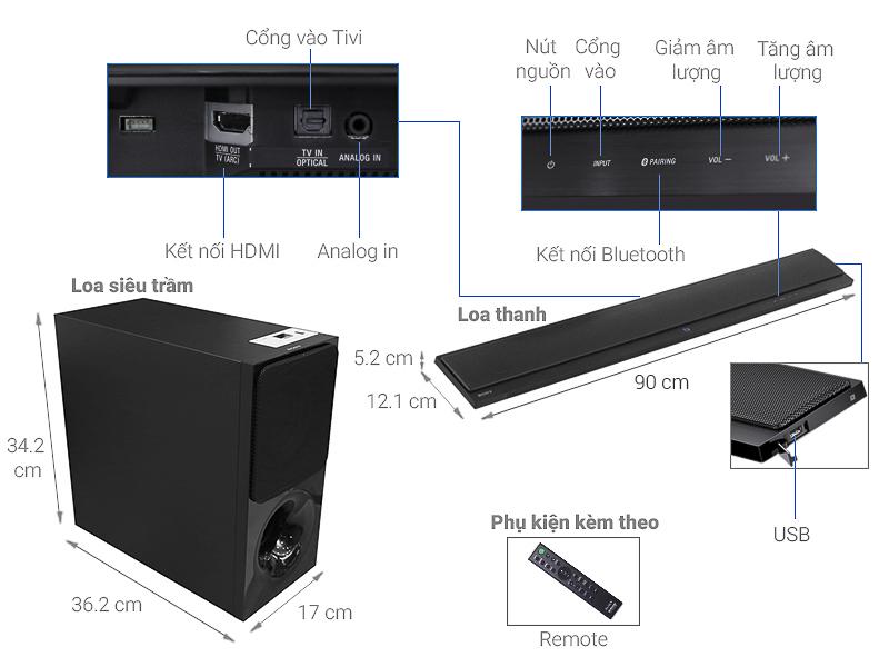 Thông số kỹ thuật Loa thanh soundbar Sony 2.1 HT-CT390 300W
