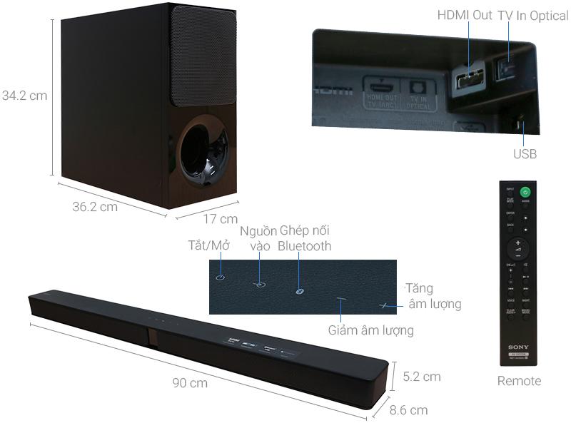Thông số kỹ thuật Loa thanh Sony HT-CT290/BM 300W
