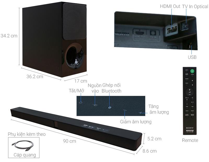 Thông số kỹ thuật Loa thanh soundbar Sony 2.1 HT-CT290/BM 300W