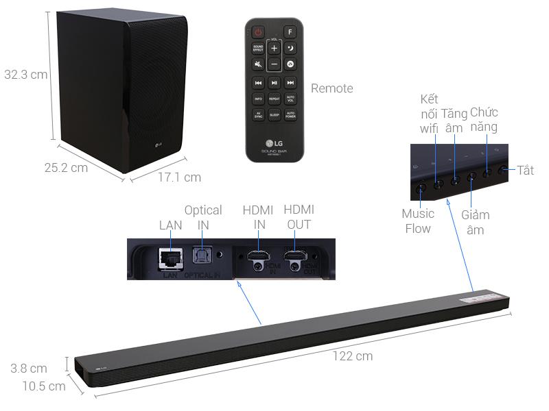 Thông số kỹ thuật Loa thanh soundbar LG 4.1 SJ8 300W