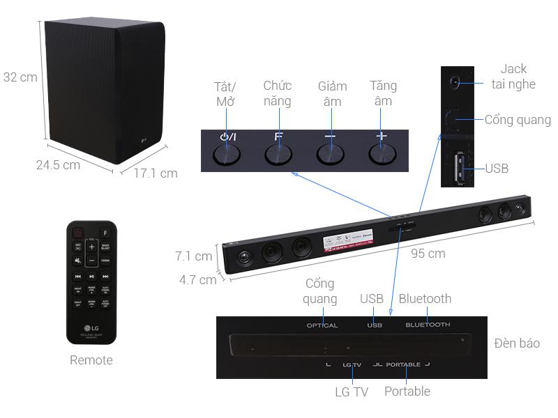 Thông số kỹ thuật Loa Thanh LG SJ3