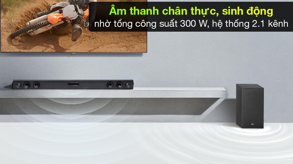 Loa thanh soundbar LG SJ3 - Tái tạo chất âm trung thực, cuốn hút qua tổng công suất 300 W, loa LG 2.1 kênh
