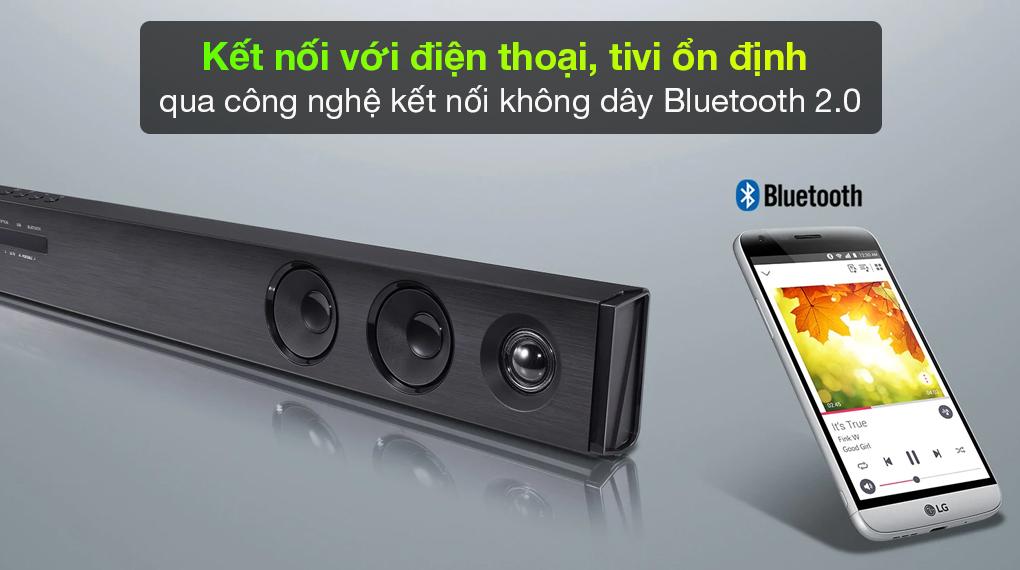 Loa thanh soundbar LG SJ3 - Kết nối loa với tivi, điện thoại đường truyền không dây mượt mà qua công nghệ Bluetooth 2.0