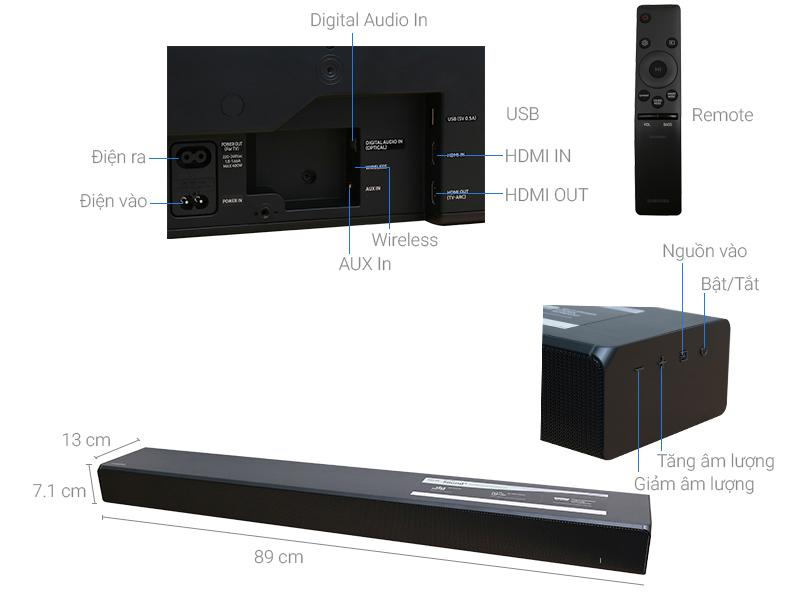 Thông số kỹ thuật Loa thanh soundbar Samsung 2.0 HW -MS550 450W