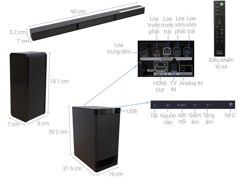 Thông số kỹ thuật Dàn âm thanh Sony 5.1 HT-RT3/M 600W