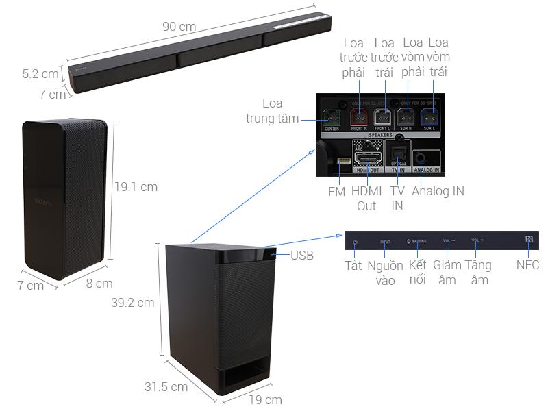 Thông số kỹ thuật Dàn âm thanh Soundbar Sony HT-RT3/M