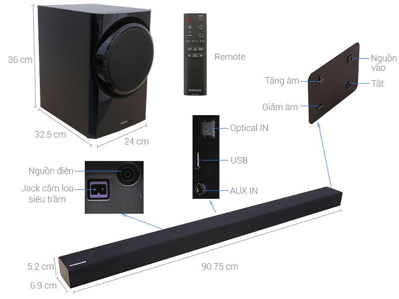 Thông số kỹ thuật Loa thanh soundbar Samsung 2.1 HW-K350 150W