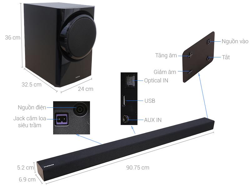Thông số kỹ thuật Loa thanh Samsung HW-K350 150 W