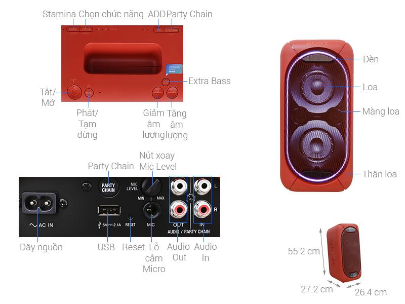 Thông số kỹ thuật Dàn âm thanh Hifi Sony GTK-XB60