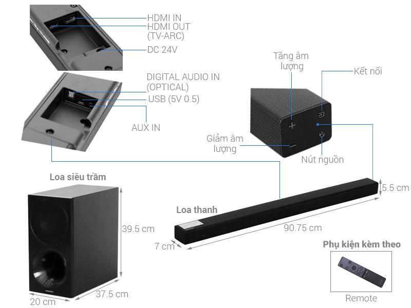 Thông số kỹ thuật Loa thanh soundbar Samsung 2.1 HW-M450 320W