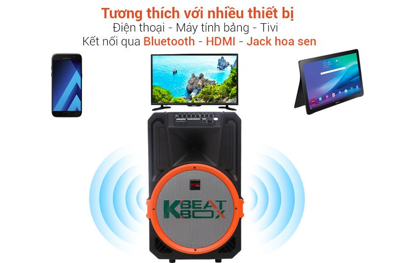 Tương thích với nhiều thiết bị như tivi, điện thoại, laptop - Loa kéo karaoke Acnos KB39U 300W