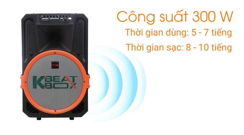 Công suất 300 W cho âm thanh chân thật - Loa kéo karaoke Acnos KB39U 300W