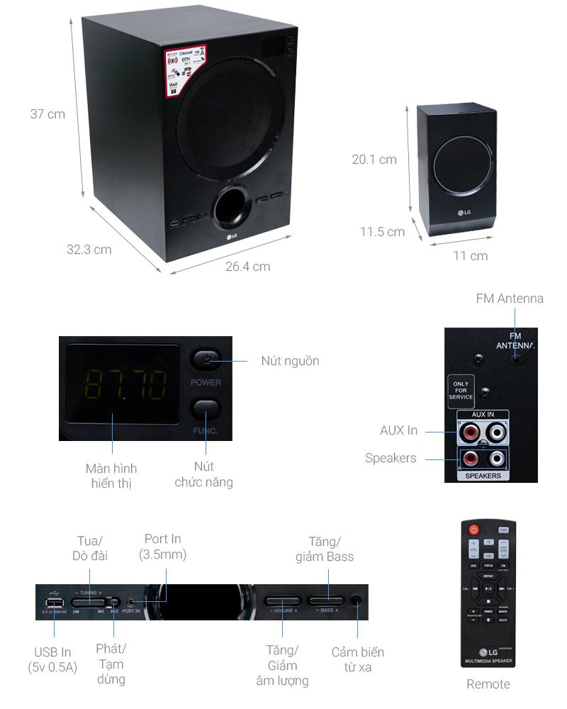 Thông số kỹ thuật Dàn âm thanh 2.1 LG LH70B 70W