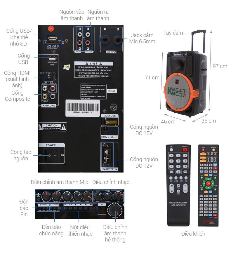 Thông số kỹ thuật Loa kéo karaoke Acnos KB39S 100W