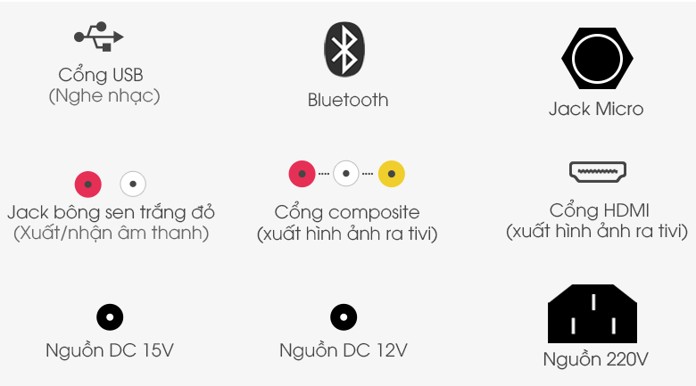 Dàn karaoke di động Acnos KB39S 300W - Cổng kết nối