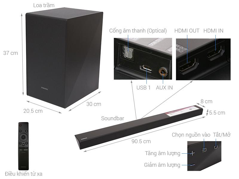 Thông số kỹ thuật Loa thanh soundbar Samsung 2.1 HW-N450/XV 320W